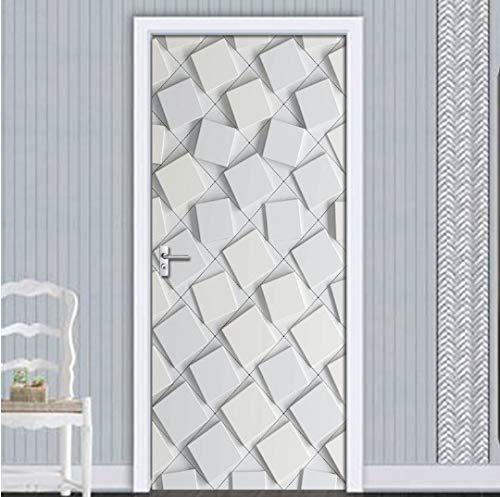 Mural de Pegatinas de Puerta, Impermeable Autoadhesivo 3D Pegatina de Puerta Abstracta geométrica gráfica Gris Papel Tapiz Sala de Estar decoración de la Puerta Pegatina de Pared calcomanía