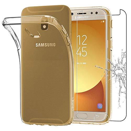 ebestStar - Coque Compatible avec Samsung J7 2017 Galaxy SM-J730F Etui Housse Silicone Gel Anti-Choc Ultra Fine Invisible, Transparent + Film Verre Trempé [Appareil: 152.4 x 74.7 x 7.9mm, 5.5'']
