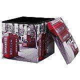[en.casa] Faltbarer Sitzhocker + Aufbewahrungsbox - 30 x 30 x 30