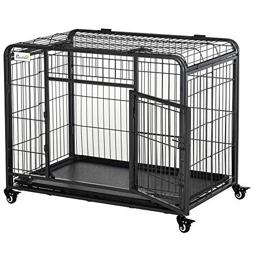 Pawhut Cage pour Chien Pliable Cage de Transport sur roulettes 2 Portes verrouillables Plateau Amovible dim. 94L x 58l x 69H cm métal Gris Noir