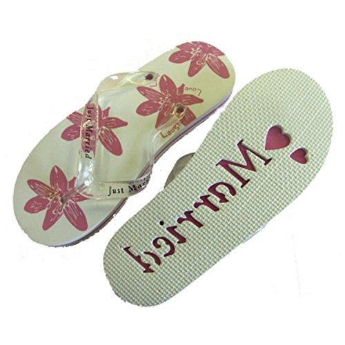 Damen Flip Flops Just Married, X44, Medium - Größe 38-39, Weiß und Pink