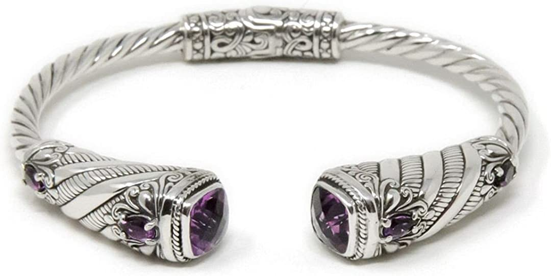 Artisan Bali Treasures, Swirling Lotus Flower Bali Bracelet Cuff