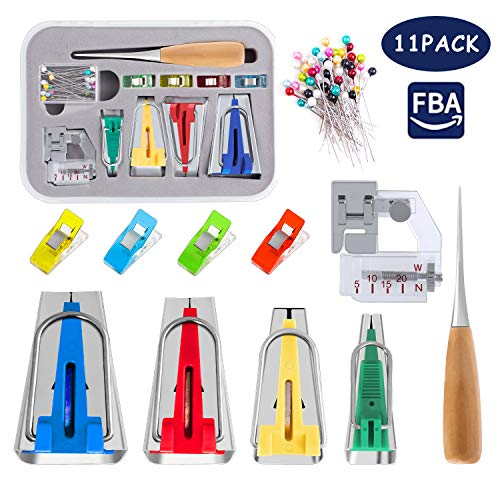 Bias Tape Maker Kit, Including 4 Adjustable Binder Clips, 1 Sewing Awl, 1 Foot Press & 50 Needles, 11Pcs Practical Seam Binding Maker Set - Easy to Make Bias Tape Safely for Sewing Quilting