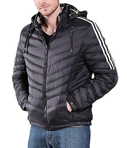 Herengewatteerde jas Herfst Mode Capuchon Elegante Winter Lange Mouw Eenvoudige Glamoureuze Splice Strepen met Rits Zijzakken Winter Jas Down Jacket