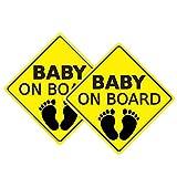 2 Pezzi di Adesivi per Bambini a Bordo Adesivi per Auto Segnaletica di Sicurezza Autoadesiva Facile da Installare Impermeabile a Lunga Durata -A