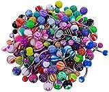 Lurrose Anillos de ombligo acylic Ombligo Piercing Studs Joyas para decoración corporal 100 piezas (color mezclado)