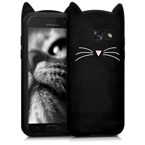 kwmobile Schutzhülle kompatibel mit Samsung Galaxy A5 (2017) - Hülle Handy - Handyhülle - Silikon Cover Case Katze Schwarz Weiß