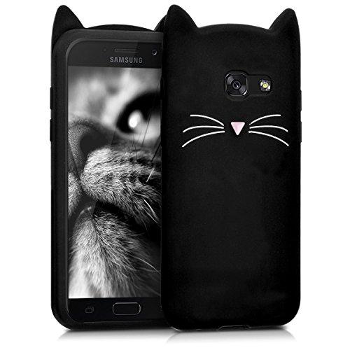 kwmobile Funda Compatible con Samsung Galaxy A5 (2017) - Carcasa de Silicona y con Gato - Cover Trasero de móvil