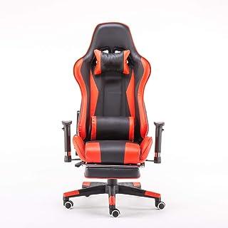 Silla De Escritorio Gamer Profesional, Silla giratoria ergonómica con respaldo alto, reposacabezas, almohada para la cintura y reposapiés, reposabrazos 4D, silla de cuero gamer con soporte lumbar