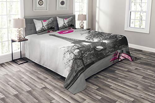 ABAKUHAUS Paris Tagesdecke Set, Romantische Stadt & EIN Kuss, Set mit Kissenbezügen farbfester Digitaldruck, für Doppelbetten 220 x 220 cm, Schwarz-weiß-pink