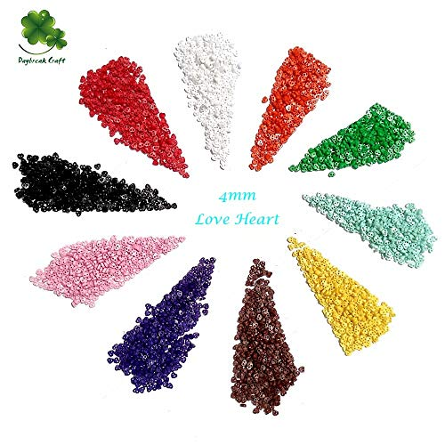 Best Bargain Xucus (Pack of 2000) Mini Love Heart 4mm Buttons for Scrapbooking Kid's cloth's Decorat...