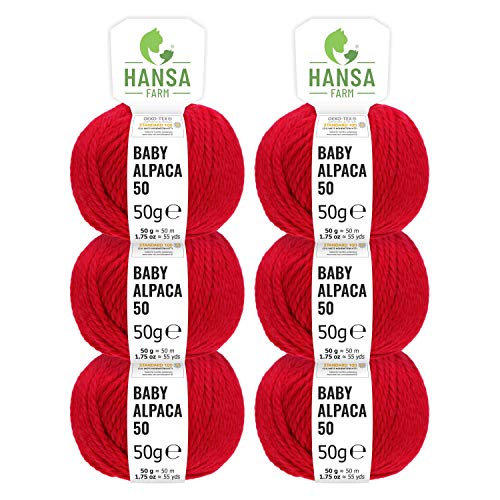 HANSA-FARM 100% Laine d'alpaga (bebé) dans 50+ Couleurs (ne Gratte Pas) - Kit de 300g (6 x 50g) - Laine Baby alpaga pour Tricot & Crochet dans 6 épaisseurs de Fil de Rouge