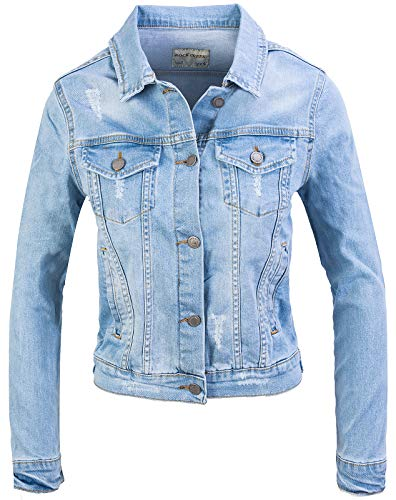 Rock Creek Damen Jeans Jacke Übergangs Jacke Denim Blouson Stretch Kurz Classic Jeansjacken Urban Stonewash D-401 Hellblau XL