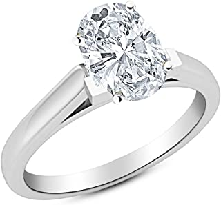0.91 Near 1 Ct Oval Cut Cathedral Solitaire Diamond Engagement Ring 14K White Gold (I Color VS1 Clarity)