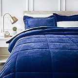 AmazonBasics Ultra-Soft Micromink Sherpa Comforter Bed Set, King, Navy Blue - 3-Piece