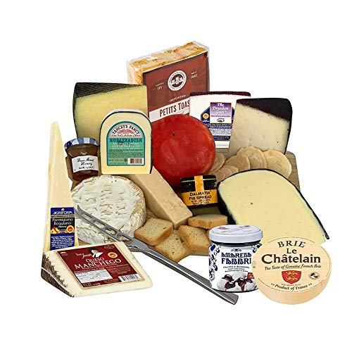 Gourmet Cheese Sampler Gift Basket - Cheese Assortment - Brie, Manchego, Gouda, Cheddar, Parmigiano, Goat Cheeses - Dalmatia Fig Spread, Petit Toast, Crackers, Honey, Cheese Board, Knife