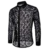 FUNEY Sissy Men's See Through Flower Full Lace Sheer Blouse Long Sleeve Button Down Shirts Mesh Muscle Fitted T-Shirt Tops