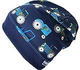Wollhuhn Beanie-Mütze TRECKER/Traktor in dunkelblau mit dunkelblauem Bündchen, für Jungen und Mädchen, 20170814, Größe M: KU 51/53 (ca 3-5 Jahre)