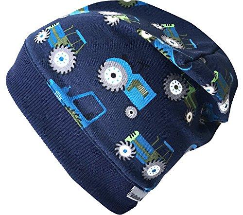 Wollhuhn Beanie-Mütze TRECKER/Traktor in dunkelblau mit dunkelblauem Bündchen, für...