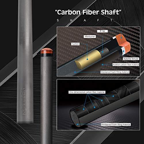 KONLLEN Carbon Fiber Pool Cue Stick Professional Cues (Full Carbon Technology Low Deflection Billiard Cue Stick,12.5mm,147cm)