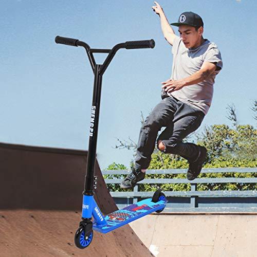 Deportes Extremos Scooters para JóVenes Adultos,Truco Genial AutomóViles de Dos Ruedas Scooters de Pedal,con 360° Manillares Giratorios/Manillares en Forma de Y,Azul