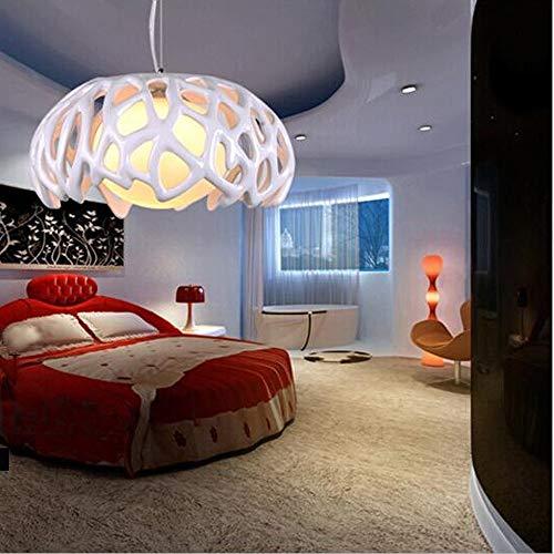 Rund Verziert Pendelleuchte POP Hängelampe LOFT Innenlampe Moderne Minimalist Junge Stil Essen Lampe Kugelpendel Flur Epoxidharz Hängelampe Weiß Rot 1 * E27 ø35cm, Weiss (Color : WHITE)
