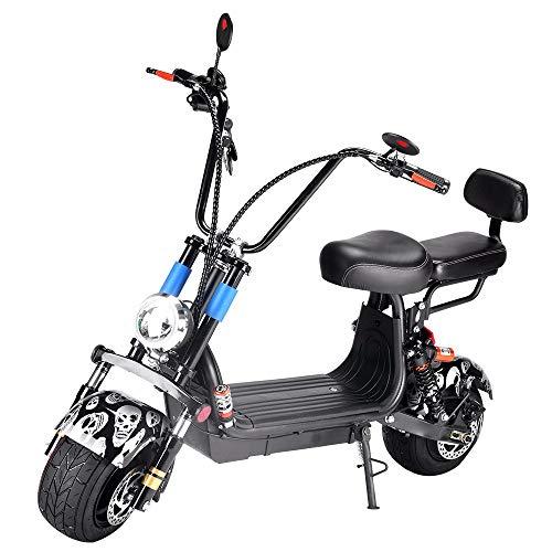 Mr Car Mini Harley Elektromobil, E Scooter, E Roller, ElektroRoller, 48V LED Scheinwerfer/Bremslicht/Dämpfung/Rücksitz + Rückenlehne (130 * 80 * 88 cm) Black