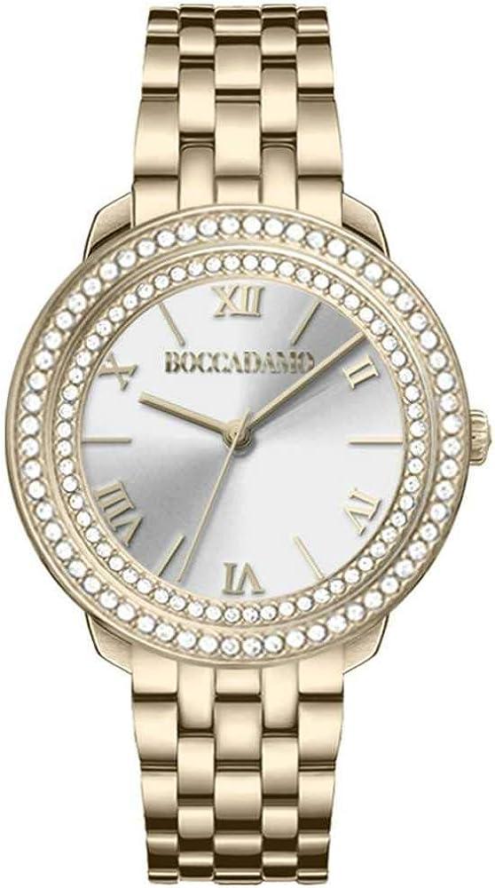 Boccadamo, orologio per donna,in acciaio placcato oro giallo,Ghiera con doppio giro di  swarovski Dv004