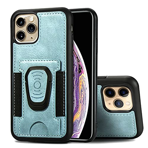 Jacquelyn Wallet Case for iPhone 11 Pro Max, Slim Card Slot Holder with Ring Stand Holder, PU Leather Wallet Case Compatible with iPhone 11 Pro Max 6.5 inch (Color : Blue, Size : IPhone 11)