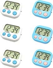 6 Pack Digital Timer for Teacher Small Timers for Kids Magnetic Back Big LCD Display Loud Alarm Minute Second Count Up Countdown With ON/OFF Switch For Classroom, Homework, Exercise(3 Blue & 3 White)