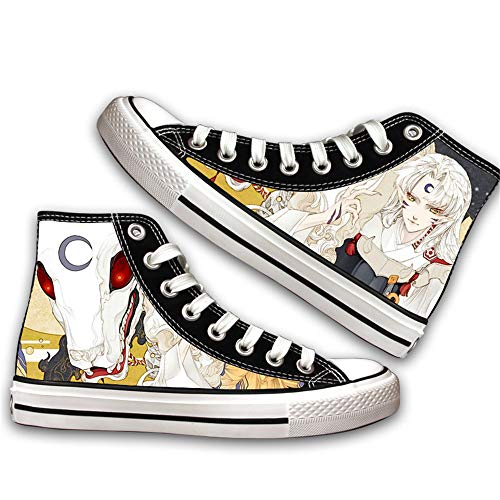 JPTYJ Inuyasha Sesshoumaru Alpargatas para Hombre Anime High Top Canvas Shoes Sneakers Trainers Cosplay Botines para Hombres Mujeres A-39