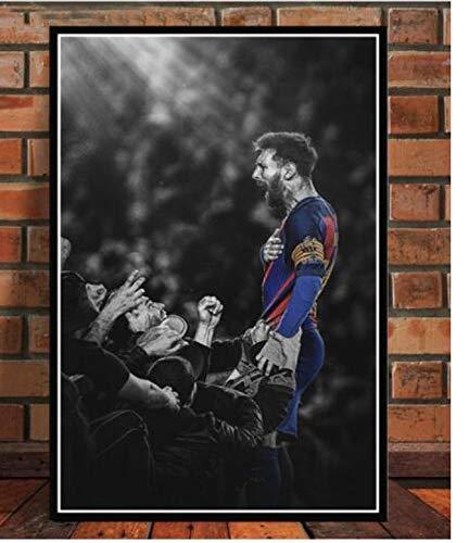 PWERWOTAM Impresión de póster Messi Football Superstar Champion Wall Art Canvas Canvas Mural Living Room Decoration 45X60Cm Sin Marco