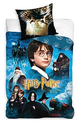 Harry Potter Bettwäsche 2 TLG. Set 135 x 200 cm + 1 Kissenbezug 80 x 80 cm 100% Baumwolle Öko-Tex