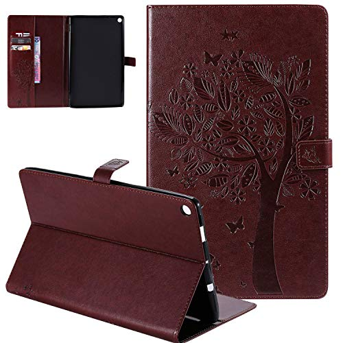 APOLL Smart Case for All-New Fire HD 10(9th/7th/5th Gen, 2019/2017/2015 Release), Protective Embossed Tree and Cat PU Leather Slim Fit Folio Wallet Stand Cover with Pocket Auto Wake/Sleep, F-Coffee