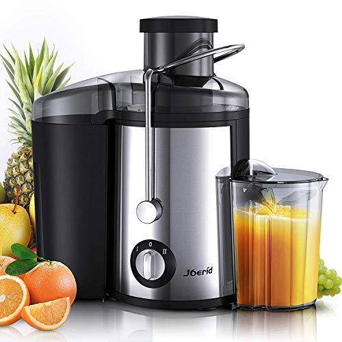 Joerid Entsafter für Obst und Gemüse,Zentrifugal Entsafter mit Reinigungsbürste und Saftbehälter,65MM Breiter Mund Edelstahl und Dual Speed Juicer Maschine mit Anti-Drip-Design,BPA frei