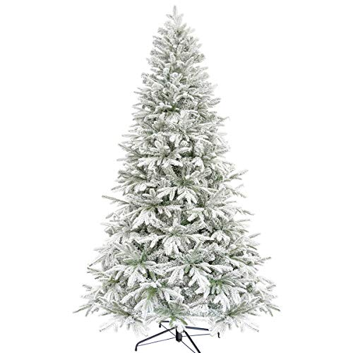 Busy Bee Flocked Christmas Tree 7.5ft Unlit Hinged Artificial Pine Tree Flocking for Xmas Decor 230cm PE PVC Realistic