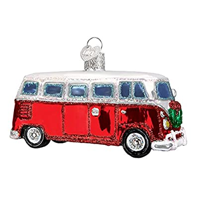 Vintage Red Camper Van Glass Blown Ornament