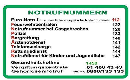 Generisch 1 Stück Notrufnummern Aufkleber für Österreich, Abziehbild (R65) w (20 x 12 cm)
