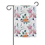DragonSwordlinsu COOSUN - Bandiera da giardino in poliestere, motivo gru ad acquerello, de...