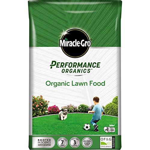 Miracle Gro Performance Organics, Organic Lawn Food Food-360 m2 Coverage, 9.1 kg Bag (Bee, Pet & Child Friendly), Grey