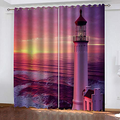 zpangg Black Out Window Cover Lighthouse Blackout For Children Bedroom Eyelet Thermal Insulated Room Darkening Curtains For Nursery Living Room Bedroom 150×166Cm