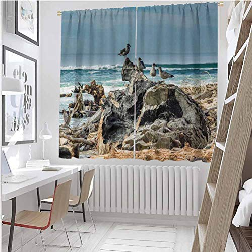 Driftwood All season insulation A Raft of Driftwood on the Shoreline with Seagulls Wavy Sea and the Sky Digital Image Noise reduction curtain panel living room W42 x L84 Inch Blue