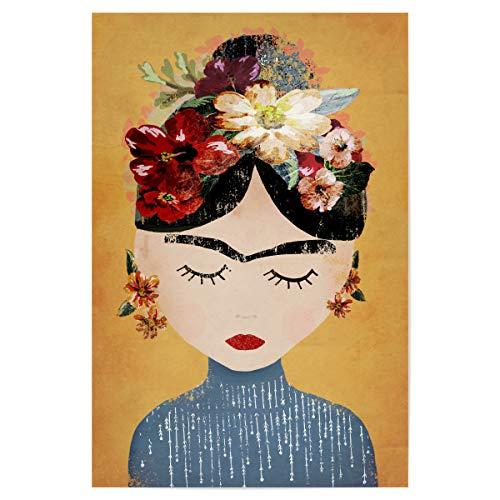 artboxONE Poster 30x20 cm Frida Kahlo Menschen Frida (Yellow Version) - Bild Frida Kahlo Portrait