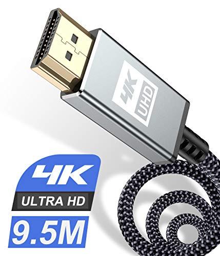 Cable HDMI 4K de 9,5 m, [actualizado] Ultra Alta Velocidad HDMI 2.0 Cable 18 Gbps compatible con vídeo 3D 4K a 60Hz 2K a 144Hz UHD 2160p HD 1080p Ethernet HDCP 2.2 ARC,Fire TV,Apple TV,Xbox,PS4 PS3 PC