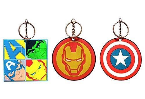 Confezione da 3 portachiavi Marvel Avengers in gomma tagliata al laser: Hulk, Capitan America, Iron Man