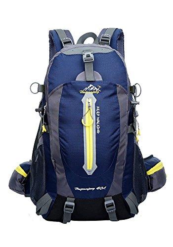 HWJIANFENG Homme Femme Sac à Dos étanche extérieur randonnée Camping Voyage Trekking en 8 Couleur au Choix, 50 x 32 x 15 cm, 40 L, Bleu Marine