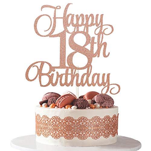 Decoración de tarta de cumpleaños, 5 Piezas Toppers de Tarta de 18 Cumpleaños Topper de Magdalena de Happy, 18th Birthday para Tartas Suministros de Purpurina Decoración de Fiesta (18)