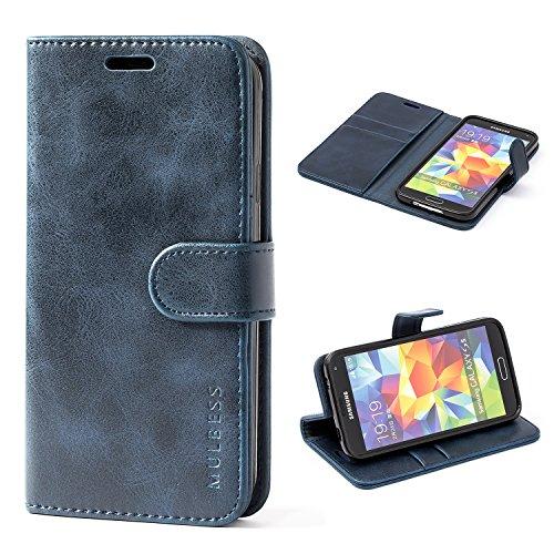 Mulbess Cover per Samsung Galaxy S5, Custodia Pelle con Magnetica per Samsung Galaxy S5 / S5 Neo [Vinatge Case], Blu Navy