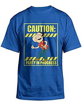 Family Guy Quagmire Caution Party in Progress Royal Blue T-Shirt  Adult Large