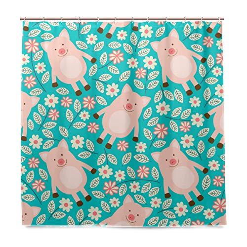 BIGJOKE Duschvorhang, Schweine-Blumen-Muster, schimmelresistent, wasserdicht, Polyester, 12 Haken, 183 x 183 cm, Heimdekoration